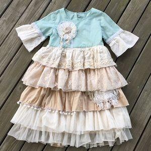 Aqua/cream ruffles dress